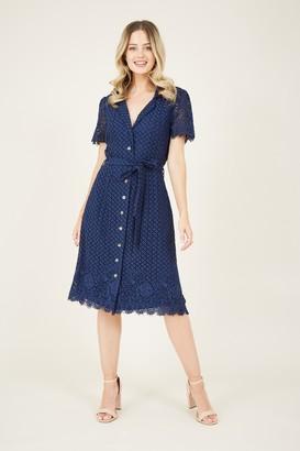 Yumi Navy Lace Tie Shirt Dress