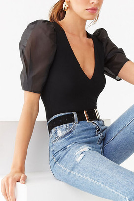 Forever 21 Sheer Puff-Sleeve Bodysuit