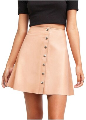 Belle & Bloom Into The Woods Blush Leather Mini Skirt