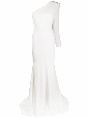 Alex Perry Fitted One Shoulder Fishtail Gown