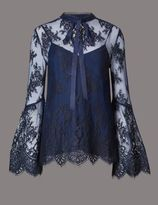 Marks and Spencer Floral Lace High Neck Long Sleeve Blouse