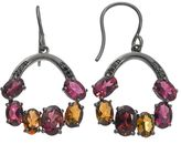 Black Diamond Tourmaline & Accent Ruthenium-Plated Sterling Silver Hoop Drop Earrings