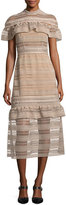 Self-Portrait Frill-Yoke Lace Midi Dress, Nude