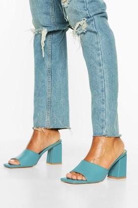 boohoo Extreme Square Toe Block Heel Mules
