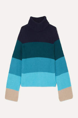 Mary Katrantzou Daisy Oversized Striped Merino Wool-blend Turtleneck Sweater - Blue
