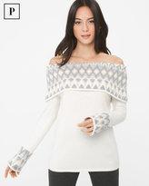 White House Black Market Petite Off-The-Shoulder Fair Isles Sweater