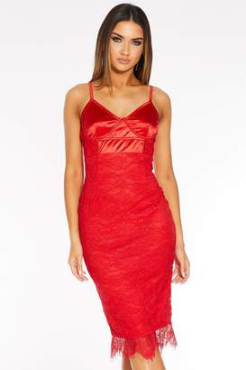 Quiz Red Satin Lace Strappy Midi Dress