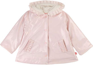 Billieblush Shimmer Raincoat w/ Pleated Trim, Size 12M-3