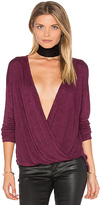 Velvet by Graham & Spencer Chantal Cross Front Top in Wine