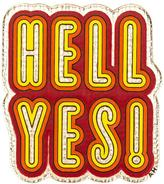 Anya Hindmarch 'Hell yes!' sticker