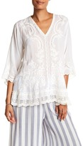 Johnny Was V-Neck Embroidered Blouse