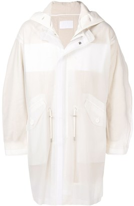 Helmut Lang Long Sheer Hooded Coat
