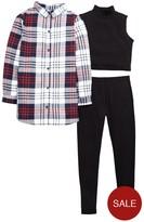 Very Check Shirt, Crop Top And Legging Set