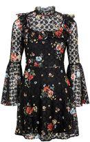 Topshop Ditsy Floral Flute Sleeve Skater Dress