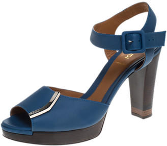 Fendi Blue Leather Metal Logo Embellished Open Toe Platform Block Heel Ankle Strap Sandals Size 40
