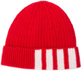 Thom Browne ribbed stripe panel beanie