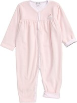 NEW Ralph Lauren VELOUR Kids Baby Girl Footed Coveralls Pink White Stripe 3 9 M