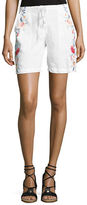 Johnny Was Janelle Embroidered Linen Shorts