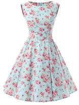 Ensnovo Womens Vintage 1950s Sleeveless Retro Floral Print Rockabilly Swing Dress , S