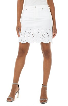 Liverpool Embroidered Hem Denim Miniskirt