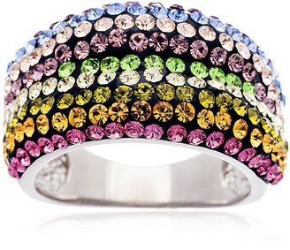 Bliss Swarovski Multi Colored Crystal 18K White Gold-Plated Sterling Band Size 6