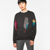 Paul Smith Men's Black Loopback-Cotton 'Feather' Embroidered Sweatshirt