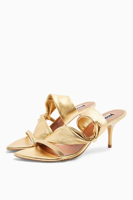Topshop NIGHT Gold Leather Tubular Mules