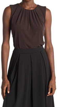 Calvin Klein Solid Pleated Neck Tank Top