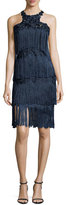 Marchesa Sleeveless Tiered Fringe Cocktail Dress, Navy