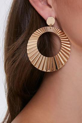 Forever 21 Pleated Drop-Hoop Earrings