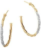 John Hardy Classic Chain 18K Gold Diamond Pavé Medium Hoop Earrings