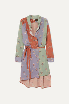 Loewe Paula's Ibiza Belted Printed Crepe De Chine Wrap Dress - Green