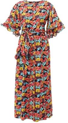 Gül Hürgel Floral-print Tiered-sleeve Poplin Dress - Womens - Multi