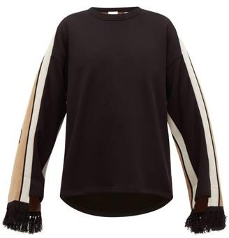 Burberry Logo-jacquard Fringe-cuff Cotton Sweater - Womens - Black Multi