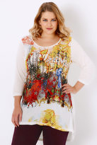 Yours Clothing Ivory & Yellow Abstract Floral Print Jersey Top With Dipped Hem