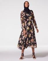 Vince Camuto Floral-print Lace-trim Dress