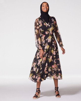 Vince Camuto Floral-print Lace-trim Dress