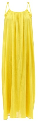 Loup Charmant Tie-strap Cotton-voile Maxi Dress - Yellow