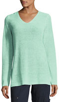 Eileen Fisher Long-Sleeve Organic Linen V-Neck Top, Plus Size
