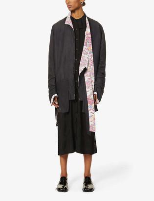 Asymmetric floral-lined woven blazer