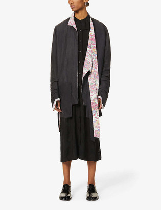 Chia Hung Su Asymmetric floral-lined woven blazer