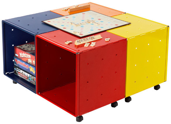Container Store Enameled QBO Steel Cube Kid's Game Table