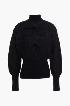Zimmermann Bow-embellished Ribbed Mohair-blend Turtleneck Sweater