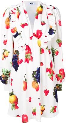 MSGM Fruit Print Midi Dress
