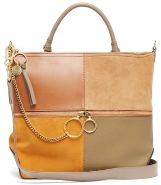 See by Chloe Emy Large Suede And Leather Tote Bag - Womens - Tan Multi