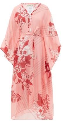 Etro Floral-print Tie-waist Cotton-blend Kaftan - Pink Print
