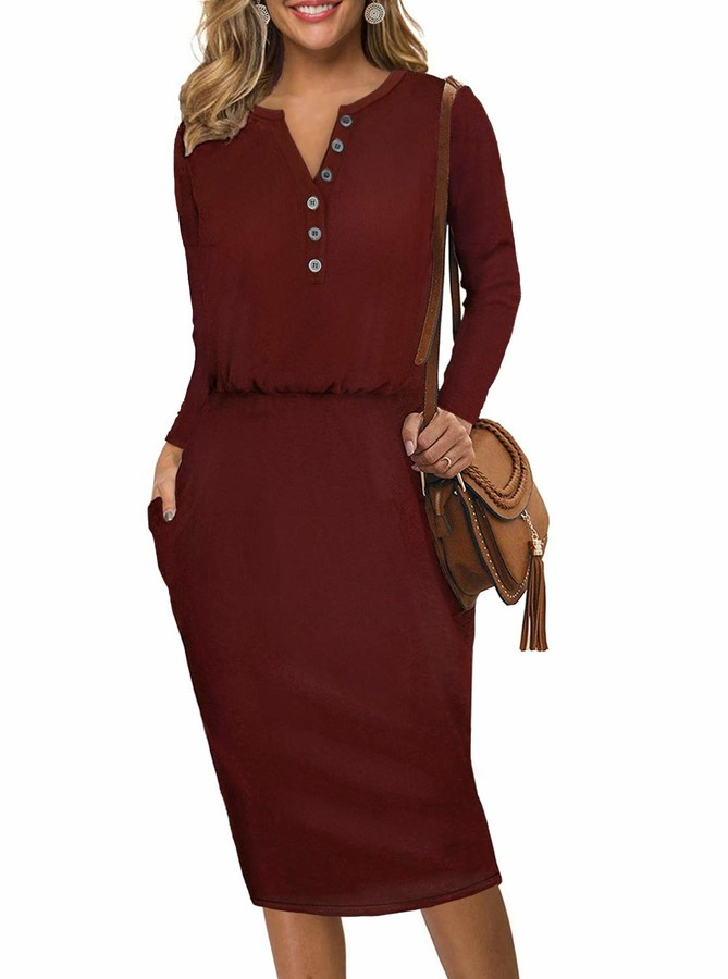 Moyabo Women's Bodycon Dress Long Sleeve Henley Button Down Hips-Wrapped Casual Office Pencil Dress Burgundy XX-Large