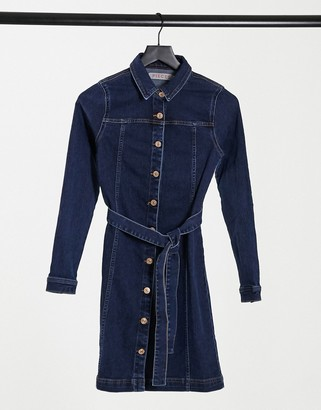 Pieces denim shirt dress with belted waist in dark blue denim