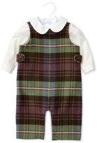 Ralph Lauren Plaid Cotton-Blend Overalls w/ Poplin Shirt, Blue/Green/Red, Size 6-24 Months