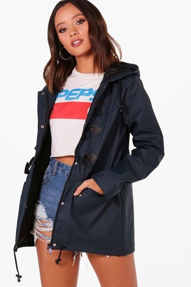 boohoo Rubberised Rain Mac With Toggles